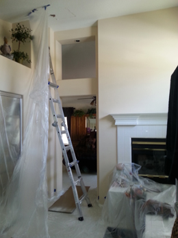We use plastic sheeting to control the dust and keep your home clean.